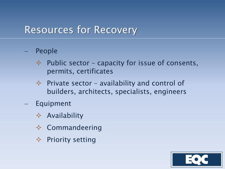 Resources for Recovery