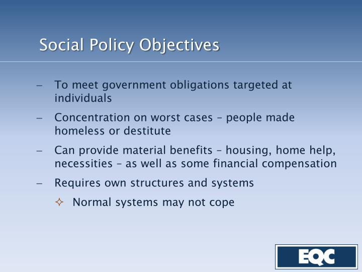 Social Policy Objectives