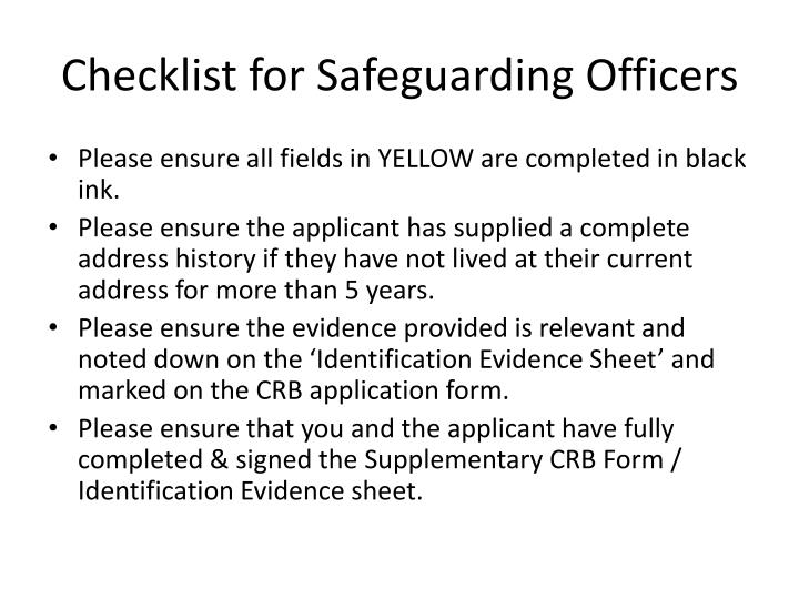 Checklist for Safeguarding Officers