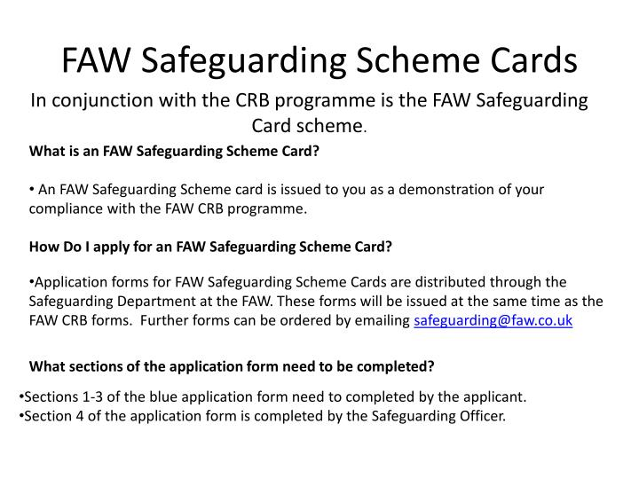 Faw safeguarding scheme cards