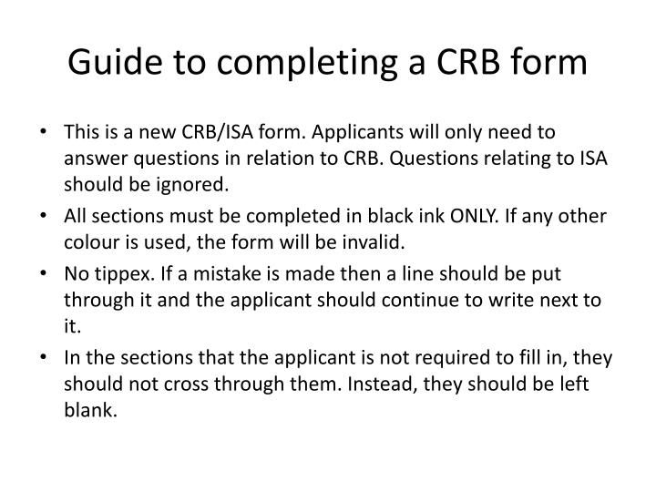 Guide to completing a CRB form