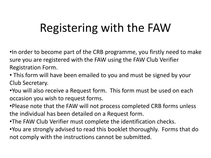 Registering with the faw