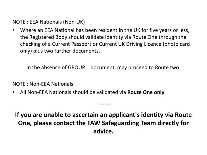 NOTE : EEA Nationals (Non-UK)