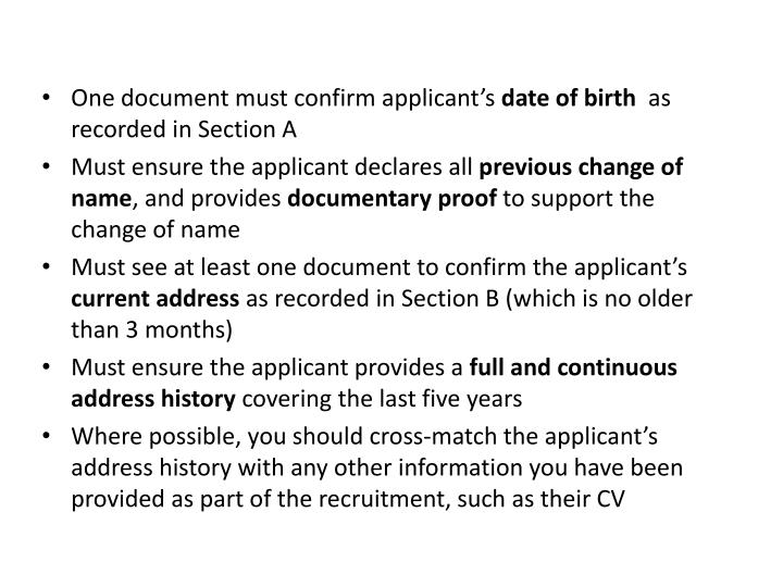 One document must confirm applicant's