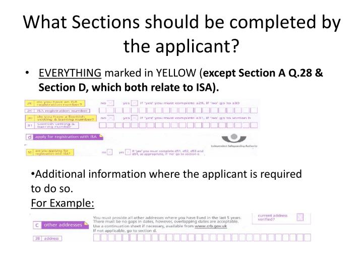What Sections should be completed by the applicant?