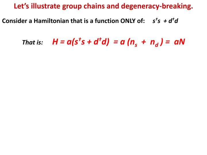 Let's illustrate group chains and degeneracy-breaking.