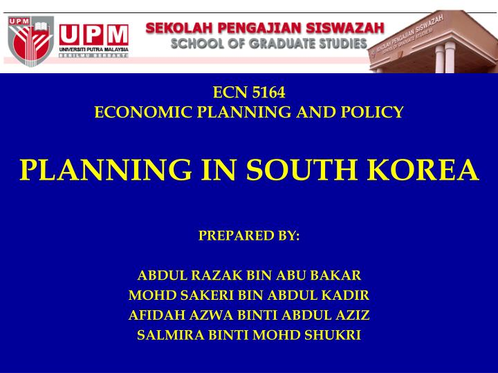 Ecn 5164 economic planning and policy