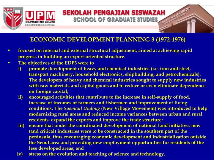 ECONOMIC DEVELOPMENT PLANNING 3 (1972-1976)