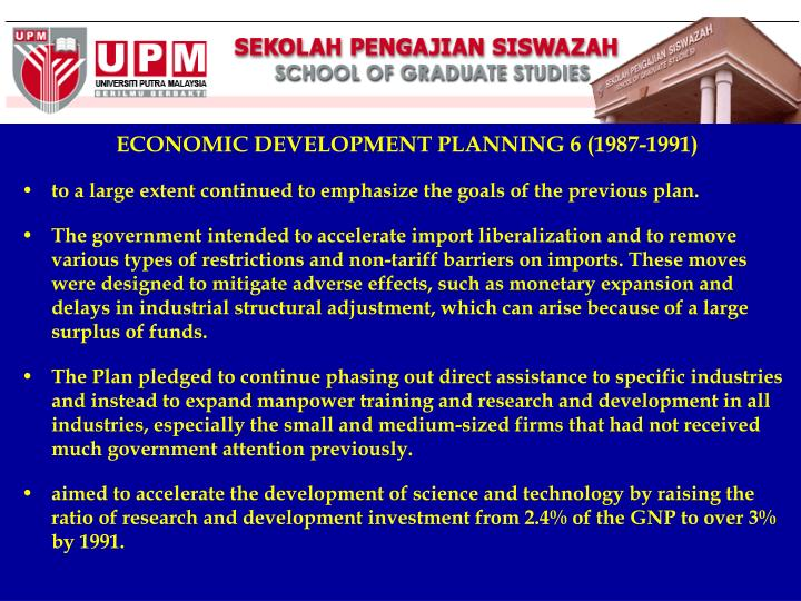 ECONOMIC DEVELOPMENT PLANNING 6 (1987-1991)