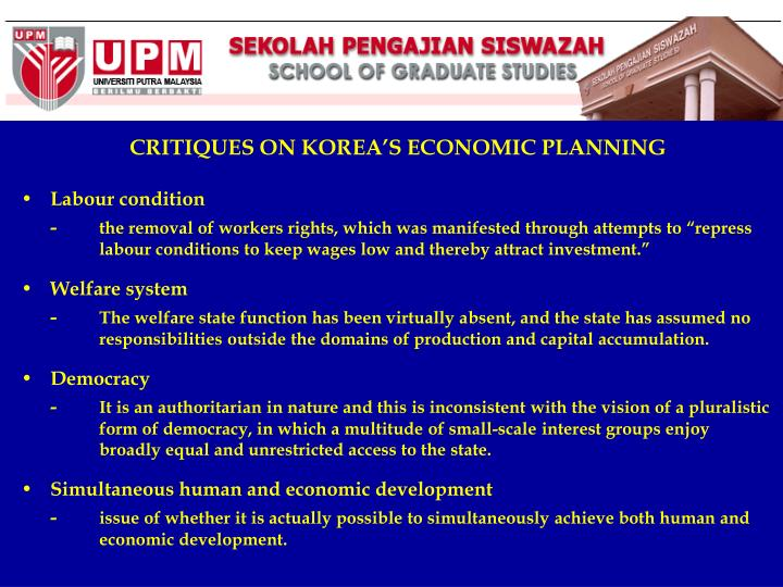 CRITIQUES ON KOREA'S ECONOMIC PLANNING