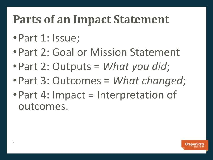 Parts of an impact statement