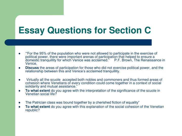Essay Questions for Section C
