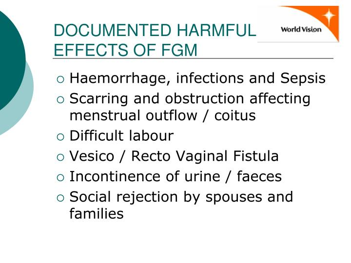 DOCUMENTED HARMFUL EFFECTS OF FGM