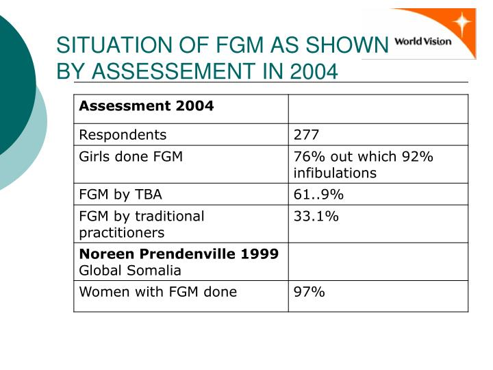 SITUATION OF FGM AS SHOWN BY ASSESSEMENT IN 2004