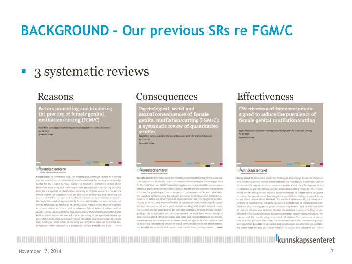 BACKGROUND – Our previous SRs re FGM/C