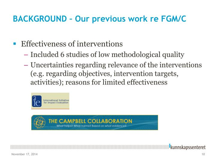 BACKGROUND – Our previous work re FGM/C