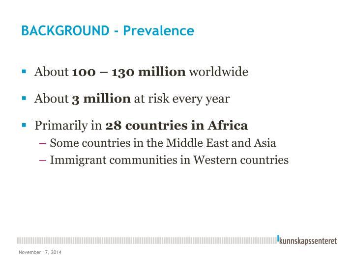 BACKGROUND - Prevalence