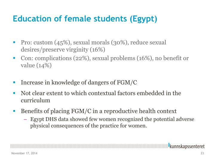 Education of female students (Egypt)
