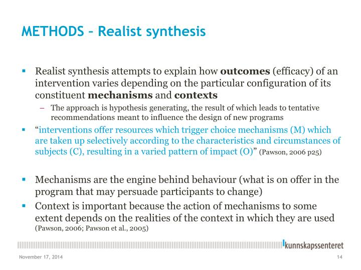 METHODS – Realist synthesis