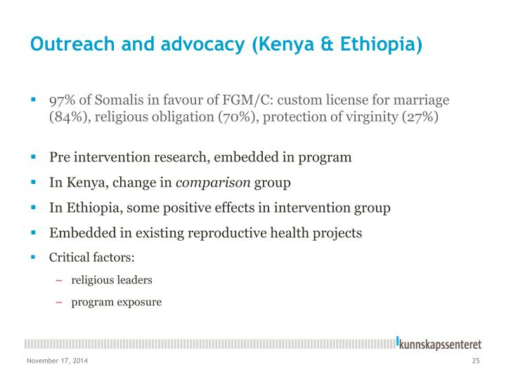 Outreach and advocacy (Kenya & Ethiopia)