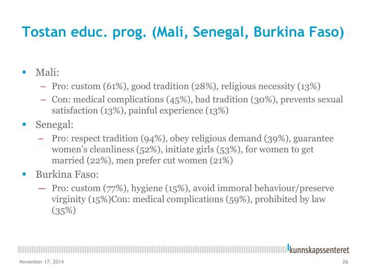 Tostan educ. prog. (Mali, Senegal, Burkina Faso)