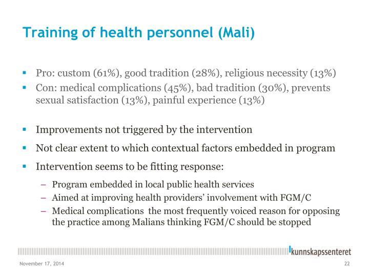Training of health personnel (Mali)