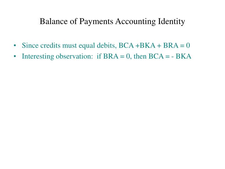 Balance of Payments Accounting Identity