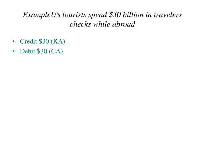 ExampleUS tourists spend $30 billion in travelers checks while abroad