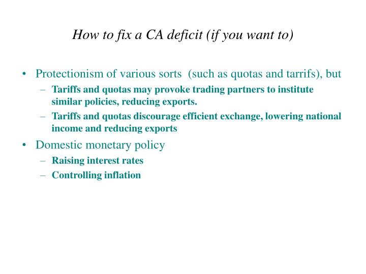 How to fix a CA deficit (if you want to)