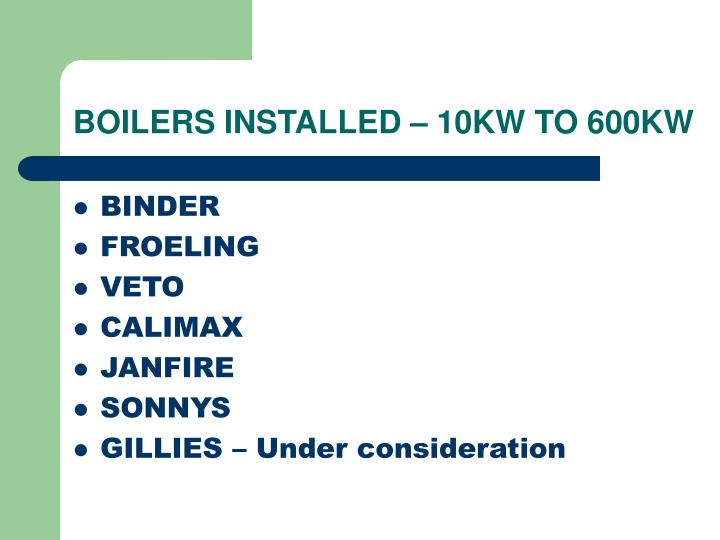 BOILERS INSTALLED – 10KW TO 600KW