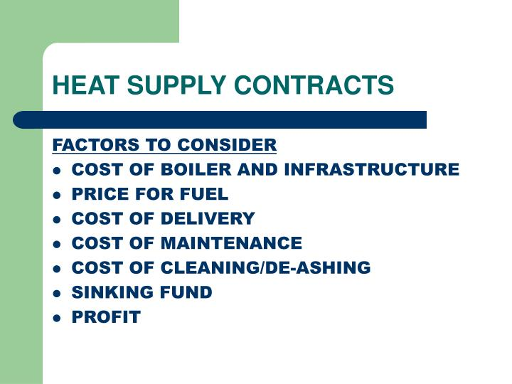 HEAT SUPPLY CONTRACTS