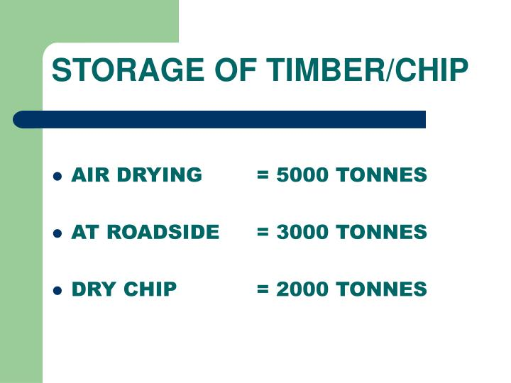 STORAGE OF TIMBER/CHIP