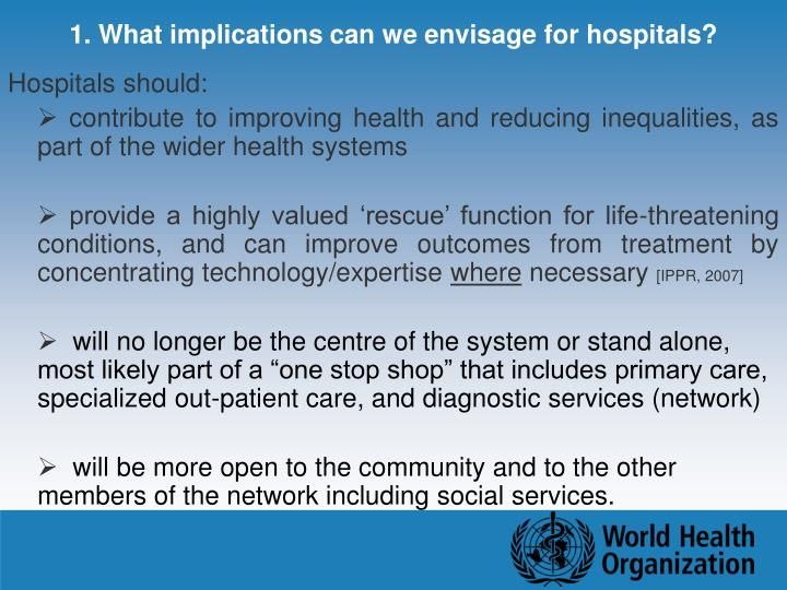 1. What implications can we envisage for hospitals?