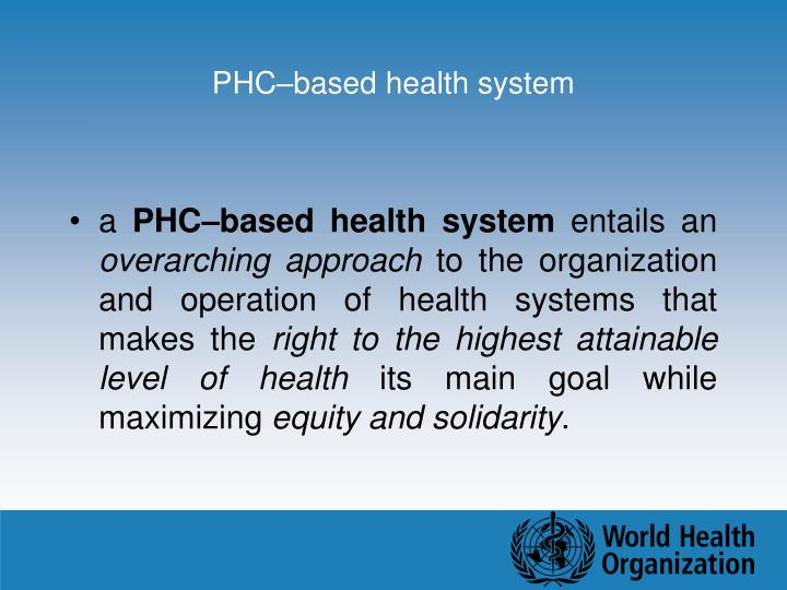 PHC–based health system