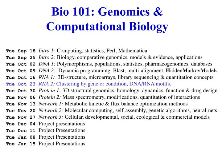 Bio 101 genomics computational biology