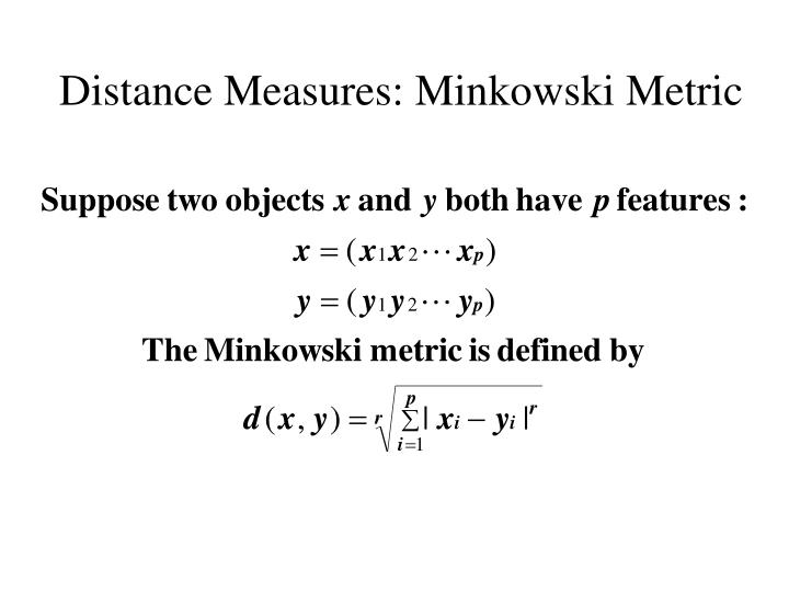 Distance Measures: Minkowski Metric