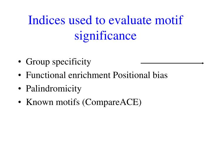 Indices used to evaluate motif significance