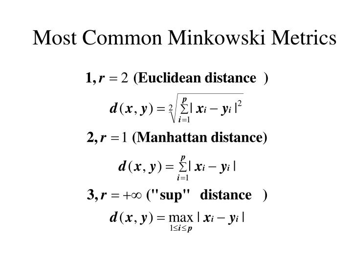 Most Common Minkowski Metrics