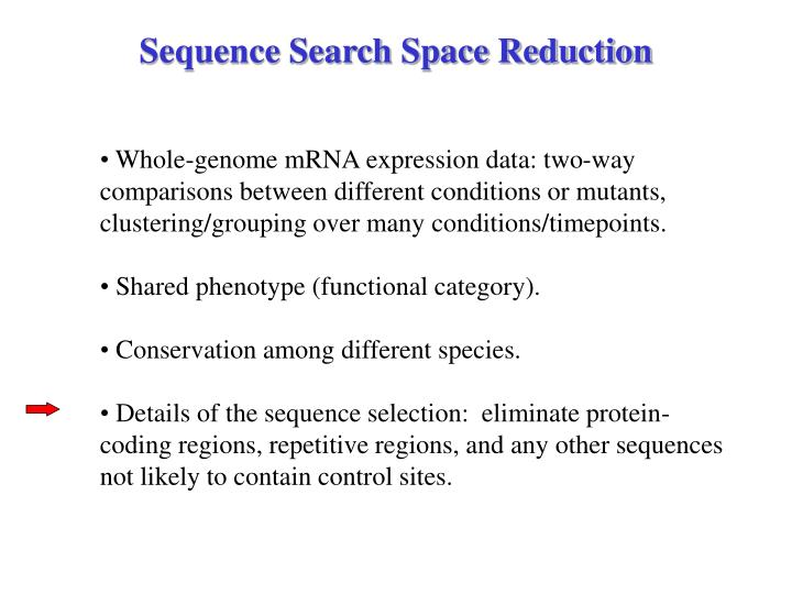 Sequence Search Space Reduction