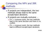 comparing the npv and irr methods