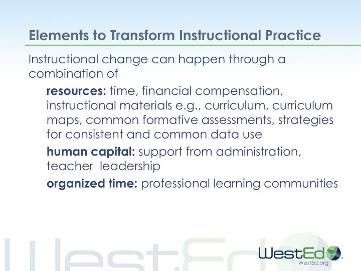 Elements to Transform Instructional Practice