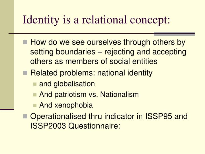 Identity is a relational concept: