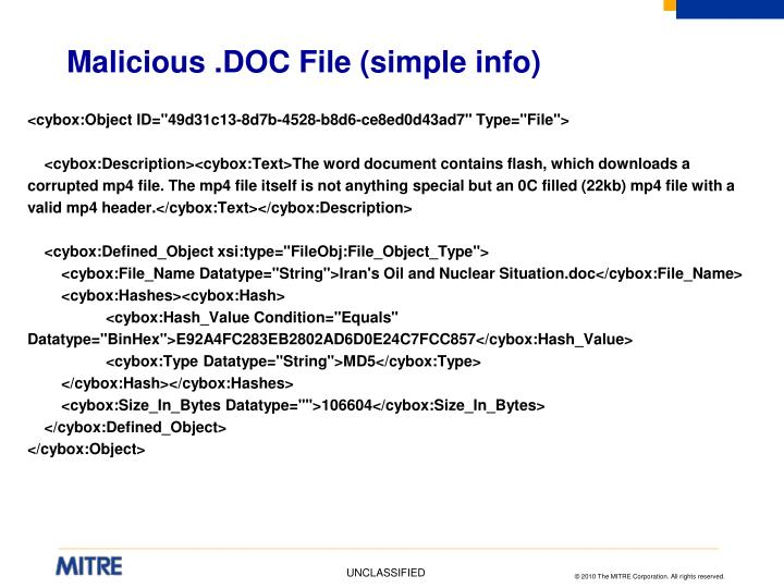 Malicious .DOC File (simple info)