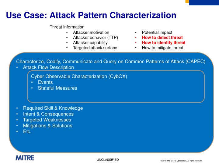 Use Case: Attack Pattern Characterization