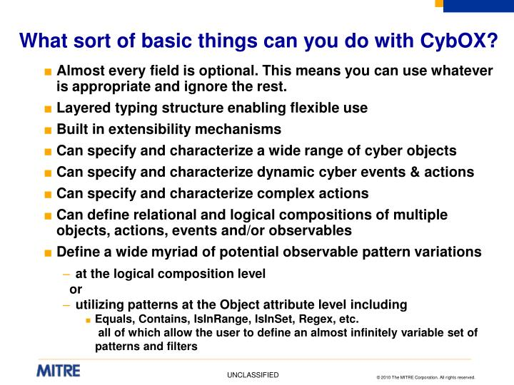 What sort of basic things can you do with CybOX?