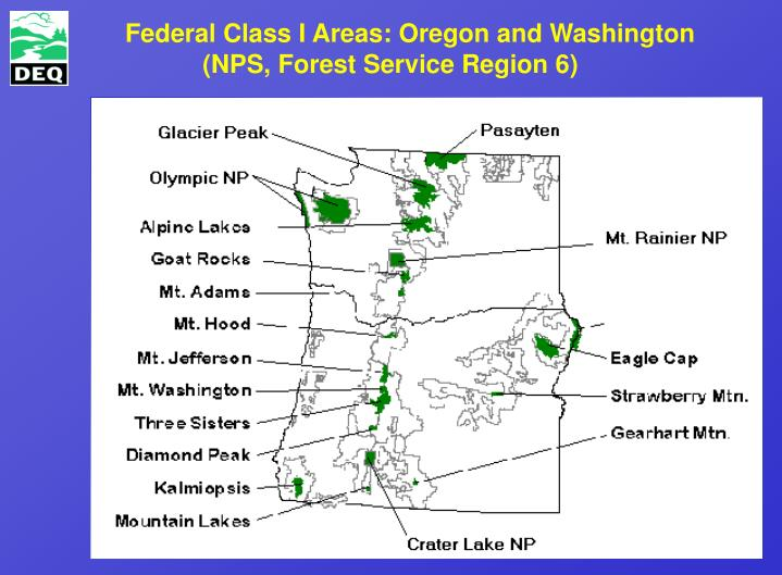 Federal class i areas oregon and washington nps forest service region 6
