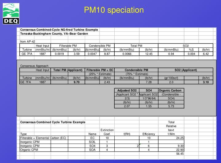 PM10 speciation