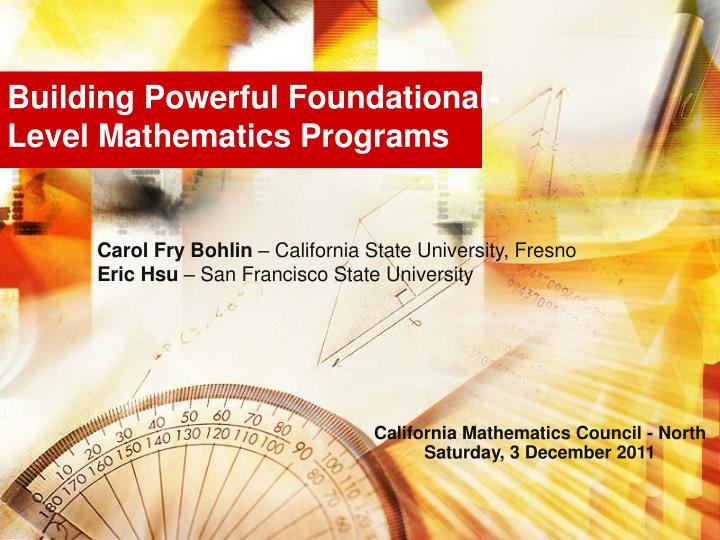 Building powerful foundational level mathematics programs