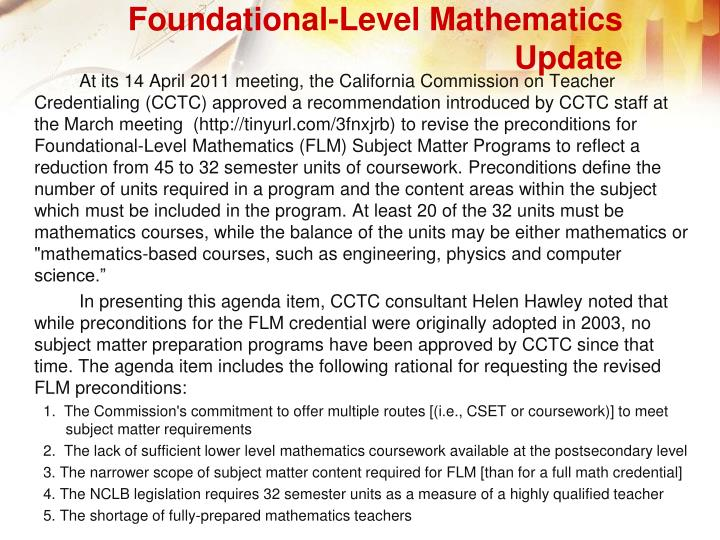 Foundational-Level Mathematics Update