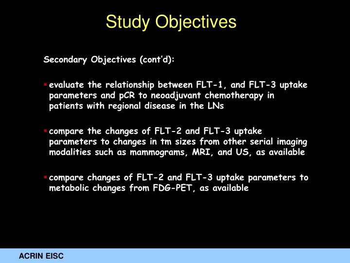 Secondary Objectives (cont'd):